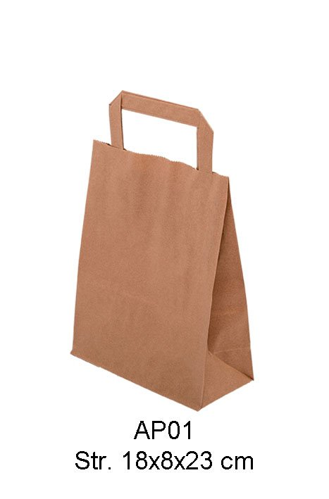 Brun take away papirspose med flad hank. 80 gr. Str. 24x14x30 cm.